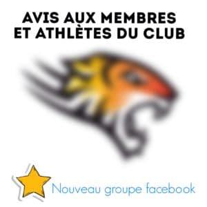 Groupe Facebook pour les membres et athlètes du club